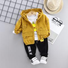 菲儿小屋   2020春季中小童小黄鸭儿童套装 新款童装男童休闲长袖三件套