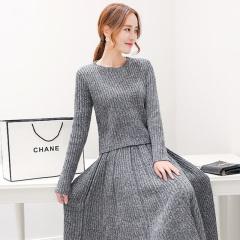 采沂 冬季针织两件套套裙