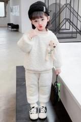2020新款宝宝套装秋冬衣服女童网红加绒加厚卫衣两件套外穿洋气