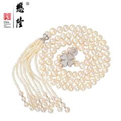 懋隆S925银镀金淡水珍珠项链长款毛衣链送长辈礼物 有证书