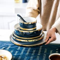 福辰北欧轻奢金边绿色盘子家用吃饭碗碟组合汤碗沙拉碗碟子西餐盘