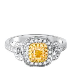 芭法娜  光芒 0.45ct 18K天然黄钻彩钻奢华钻石女戒
