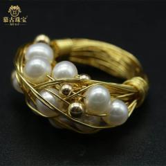 慕古 【一带一路外销款】设计款手工制作珍珠戒指(宽版)MUXP2031510