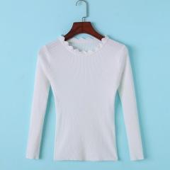秋季长袖打底衫 圆领纯色修身显瘦上衣女装韩版纯色