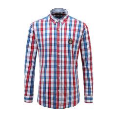 男士商务长袖休闲衬衫纽扣翻领格纹衬衫23635102