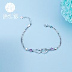 臻汇银 925银立方氧化锆心连心手链 可调节