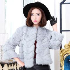 瑷美天使秋冬款整皮兔毛皮草外套新款女装韩版圆领短款皮草外套
