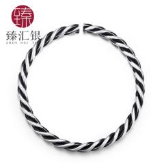 臻汇银 足银999纽花男女同款手镯(男)