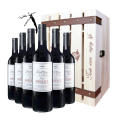 法国原装进口巴图波尔多干红葡萄酒加赠木箱珍藏套组
