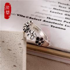 熙益 s925银戒指开口女纯银韩国风时尚气质个性花朵小指环 送女友礼物