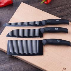 鼎匠1战神系列 刀具 菜刀三件套水果刀不锈钢厨房烹饪波纹不粘刀菜刀厨师刀