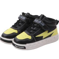 儿童运动鞋2019年秋冬二棉休闲鞋防滑保暖板鞋魔术贴拼色学生鞋潮