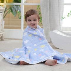 斜月三星 纯棉六层纱布宝宝盖被盖毯儿童宝宝毛巾被110*110cm
