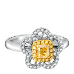 芭法娜 花花世界 0.45ct 18K金天然黄钻彩钻奢华钻石女戒 接受订制工期20天