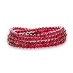 芭法娜 绯红 天然石榴石4mm多圈高品质 净体石榴石手链  强烈推荐!