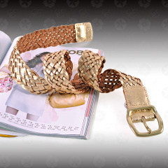 伊法兰妮女士金色牛皮编织腰带 BE04517
