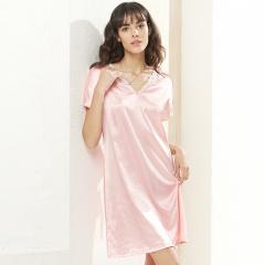 维多拉斯夏季新款女士仿真丝性感V领腰间系带睡裙家居服8122