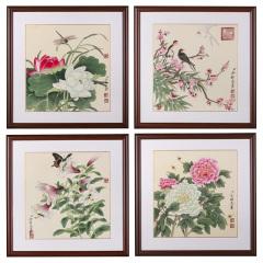 刘建民《四季争艳》国画花鸟图 货号122618
