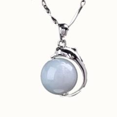 琳福珠宝 海豚之恋 S925银镶天然翡翠转运珠吊坠