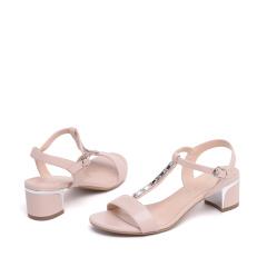 达芙妮时尚水钻粗中跟露趾女凉鞋1016303184