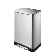 宜可/EKO 逸酷系列不锈钢脚踏静音垃圾桶 9268MT-12L砂钢 灰色