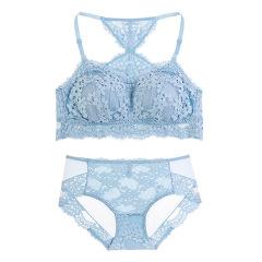 萌娜莉 ST0347 新款全罩杯少女文胸套装薄款舒适无钢圈蕾丝美背防走光抹胸内衣