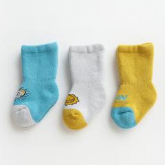 3双装儿童袜子 秋冬新款加绒加厚保暖儿童袜子新生儿宝宝袜子