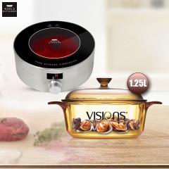 康宁WORLDKITCHEN家用便携式电茶炉+晶彩透明锅1.2L套组WK-THB/CN+VS12