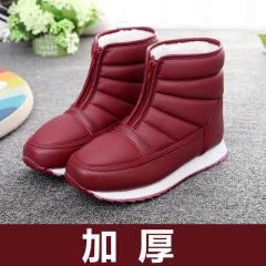 2019新款冬季中老年雪地靴 加绒加厚男女同款棉鞋 老人防滑保暖短靴