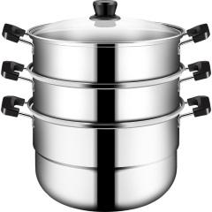 炊大皇蒸锅不锈钢28cm3层三层蒸笼加厚复底电器电磁炉通用锅具
