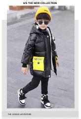 儿童羽绒棉服中长款加厚加绒韩版男童棉衣亮面宝宝外套保暖童装冬