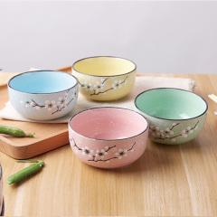鼎匠樱花浮雕手绘陶瓷碗8碗8筷套装简约瓷器碗筷套装家用日用米饭碗