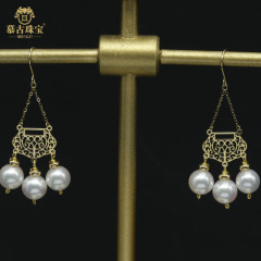 慕古 【一带一路外销款】设计款扇型珍珠耳环 MUXP2031512