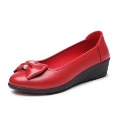 秋季新款单鞋 蝴蝶结坡跟妈妈鞋皮鞋浅口女鞋