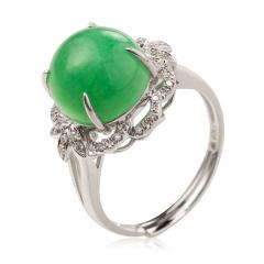 老洪祥18K金钻石满绿翡翠戒指 货号124097