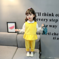 菲儿小屋  2020童装春款新品 韩版甜美女童长袖纯色灯芯绒儿童套装