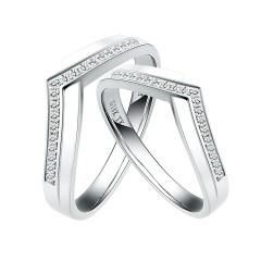 芭法娜 比翼双飞 法式浪漫18K金钻石情侣对戒 可接受订制