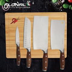 FLONAL厨房刀具套装四件套菜刀砍骨刀水果刀切肉刀不锈钢刀家用