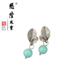 懋隆S925银饰手工设计小叶子做旧风格绿松石耳钉女款礼物正品包邮